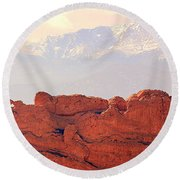 Big View Kissing Camels N Pikes Peak Round Beach Towel by Clarice Lakota