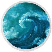 Round Beach Towel featuring the painting Big Wave by Anastasiya Malakhova