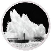 Big Wave Breaking On Breakwater Round Beach Towel