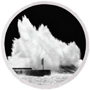 Big Wave Breaking On Breakwater Round Beach Towel