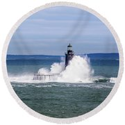Big Wave Hits Ram Island Ledge Light Round Beach Towel