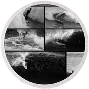 Big Wave Surfing Hawaii To California Round Beach Towel by Brad Scott