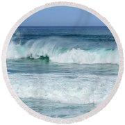 Round Beach Towel featuring the photograph Big Waves by Marion McCristall