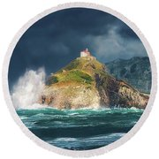 Big Waves Over San Juan De Gaztelugatxe Round Beach Towel