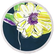 Round Beach Towel featuring the mixed media Big Yellow Flower- Art By Linda Woods by Linda Woods