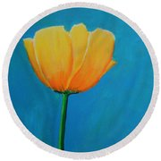 Big Yellow Tulip Round Beach Towel