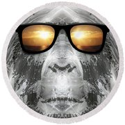 Round Beach Towel featuring the digital art Bigfoot In Shades by Phil Perkins