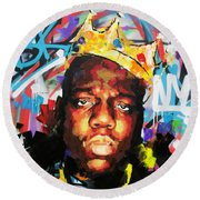 Round Beach Towel featuring the painting Biggy Smalls IIi by Richard Day