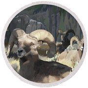 Bighorn Boys Round Beach Towel