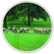 Round Beach Towel featuring the digital art Bighorn Sheep Ewes  by Chris Flees