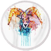 Round Beach Towel featuring the mixed media Bighorn Sheep Portrait by Marian Voicu