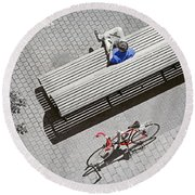 Round Beach Towel featuring the photograph Bike Break by Keith Armstrong