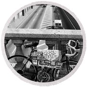 Bike Grand Concourse Bronx Round Beach Towel by Dave Beckerman