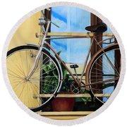 Bike In The Window Round Beach Towel