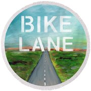 Bike Lane- Art By Linda Woods Round Beach Towel by Linda Woods