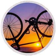 Bike On Seawall Round Beach Towel