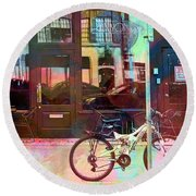 Round Beach Towel featuring the digital art Bike Ride To Runyons by Susan Stone