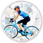 Round Beach Towel featuring the painting Biker 1 by Movie Poster Prints