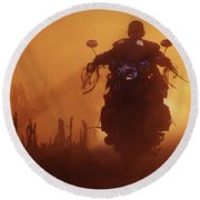 Biker Man Riding Motorcycle On The Sunset Round Beach Towel