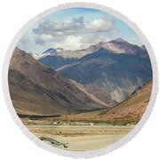 Bikers And The Andes Mountains Round Beach Towel