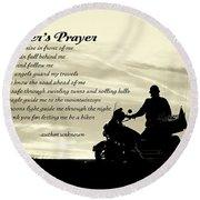 Biker's Prayer Round Beach Towel