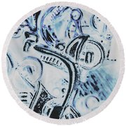Bikes And Blue Cities Round Beach Towel