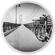 Bikes And Fences. Round Beach Towel