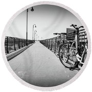Bikes And Fences. Round Beach Towel