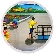 Round Beach Towel featuring the painting Bikes by Cyril Maza