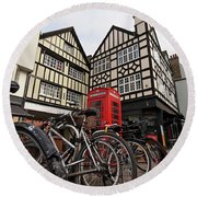 Round Beach Towel featuring the photograph Bikes Galore In Cambridge by Gill Billington