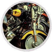Round Beach Towel featuring the photograph Bikes In A Row by Samuel M Purvis III