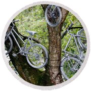 Bikes In A Tree Round Beach Towel