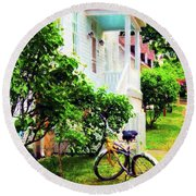Bikes In The Yard I I Round Beach Towel