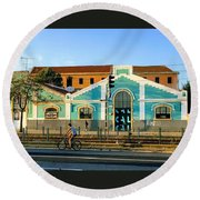 Biking In Lisboa Round Beach Towel