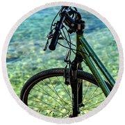 Biking The Rovinj Coastline - Rovinj, Istria, Croatia Round Beach Towel