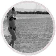 Bikini Girl Round Beach Towel by Kiran Joshi