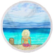 Bikini On The Pier Round Beach Towel