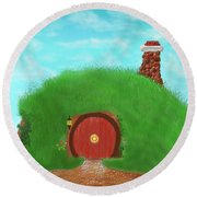 Round Beach Towel featuring the painting Bilbo's Home In The  Shire by Kevin Caudill