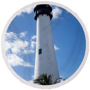 Bill Baggs Lighthouse Cape Florida State Park Palm Trees Round Beach Towel
