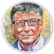 Bill Gates Portrait Round Beach Towel