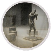 Bill Russell Statue Round Beach Towel