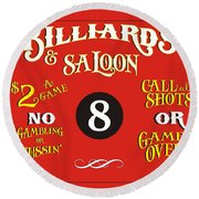 Billiards And Saloon Sign Round Beach Towel