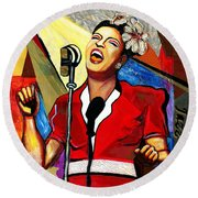 Billie Holiday Round Beach Towel by Everett Spruill