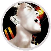 Billie Holiday Round Beach Towel by Pennie McCracken