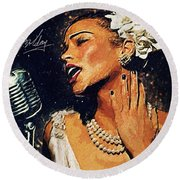 Billie Holiday Round Beach Towel