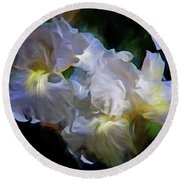 Billowing Irises Round Beach Towel