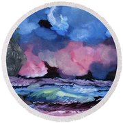 Billowy Clouds Afloat Round Beach Towel by Meryl Goudey