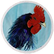 Round Beach Towel featuring the painting Billy Boy The Rooster by Janice Rae Pariza