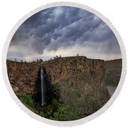 Round Beach Towel featuring the photograph Billy Chinook Falls by Cat Connor