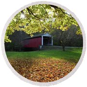 Round Beach Towel featuring the photograph Billy Creek Bridge by Joanne Coyle